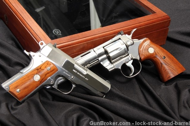 Colt Python & Officer's Model - Double Diamond Set Polished, Bright Stainless .45 ACP & 357 Magnum Pistols