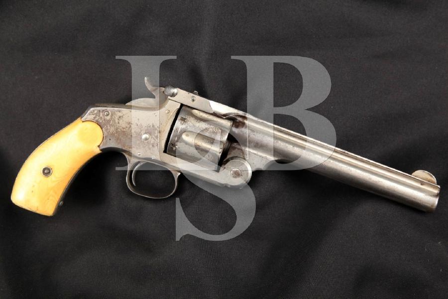 """Smith & Wesson S&W New Model No. 3 Frontier (Serial No. 93), Nickel & Bone 6 ½"""" 6-Shot, Single Action Revolver, MFD 1885 Antique"""