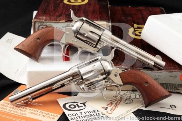 "2x Colt Third 3rd Gen SAA Single Action Army 5.5"" PAIR Nickel SA Revolvers & Box Cat No P1656 .357"