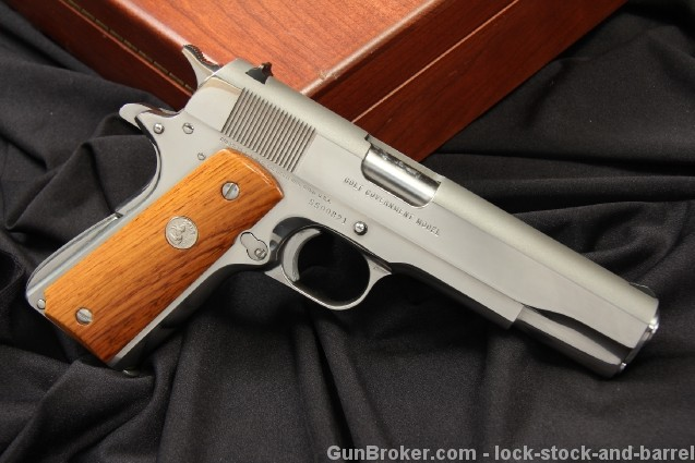 Cased Polished Stainless Colt Silver Star 45 1911