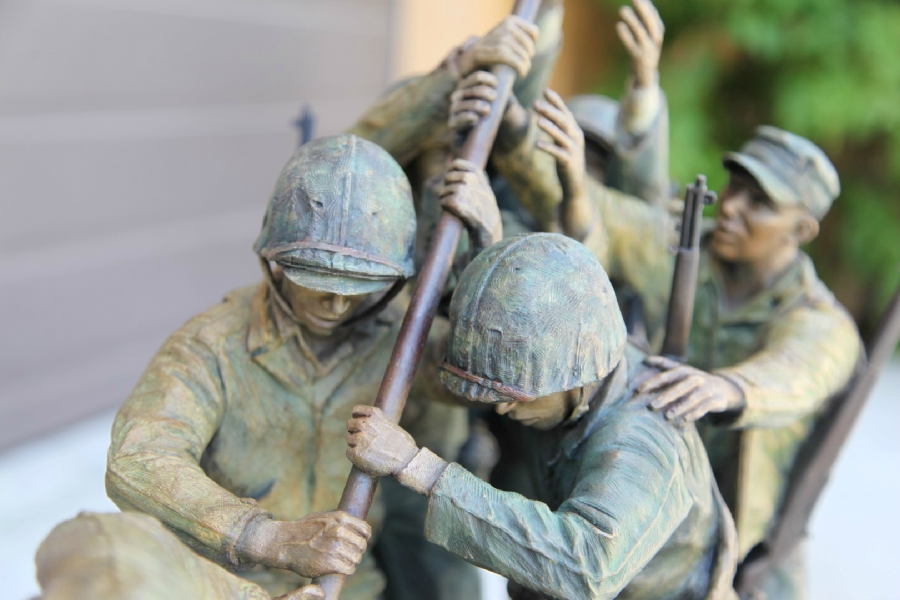 90 lb. Bronze Statue of the Iwo Jima Flag Raising by David Venell Hands