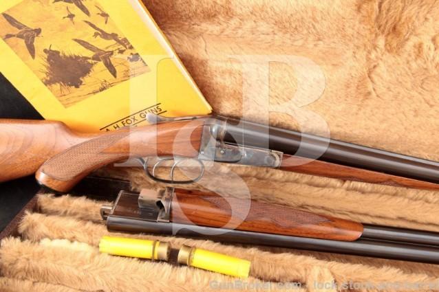 "A. H. Fox Sterlingworth Side-By-Side SxS 20 Gauge Double Barreled Shotgun 26"" & 28"" Cased Set, 1913"