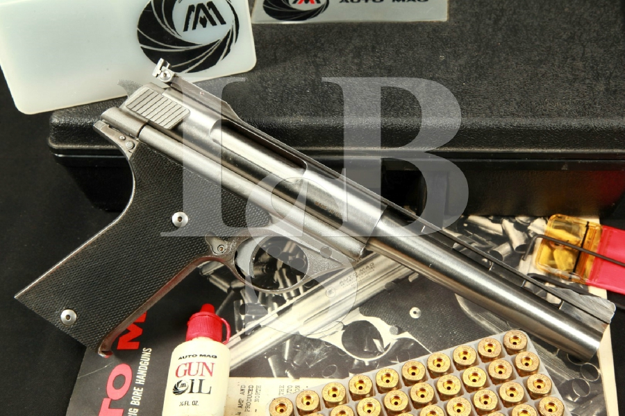 "AMT AutoMag, Original Pasadena Manufactured, Stainless 6 1/2"" Semi-Automatic Pistol & Case, MFD 1971-72 C&R"