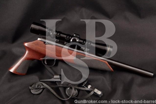 """Anschutz Exemplar Target Model 1416P, Blue 10"""" .22 Bolt Action Pistol & Leupold Scope, MFD 1988"""