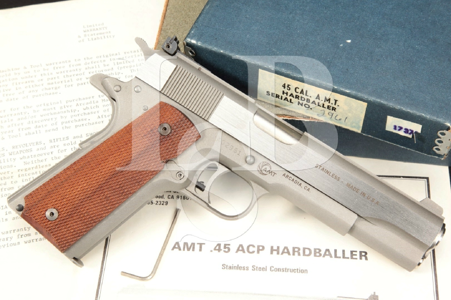 "Arcadia Machine & Tool AMT Hardballer, Brushed Stainless Steel & Matte Gray 5"" Single Action Semi-Automatic Pistol & Box, 1977-80"