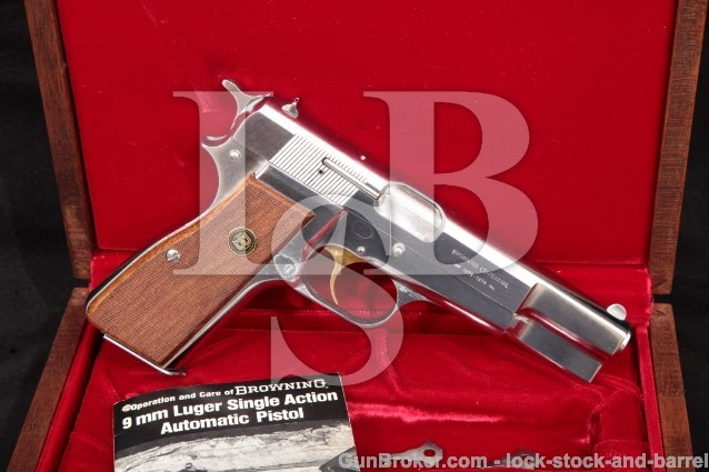 "Belgian Browning Centennial Hi-Power P35 & Case 1978 Chrome High Power 4 5/8"" Semi-Auto Pistol C&R"