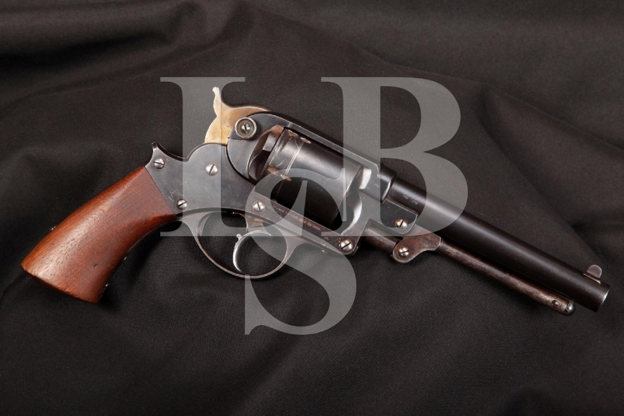 Belgian Proofed Starr Arms Co. Model 1858 Double Action Revolver, 1890's Conversion, Antique