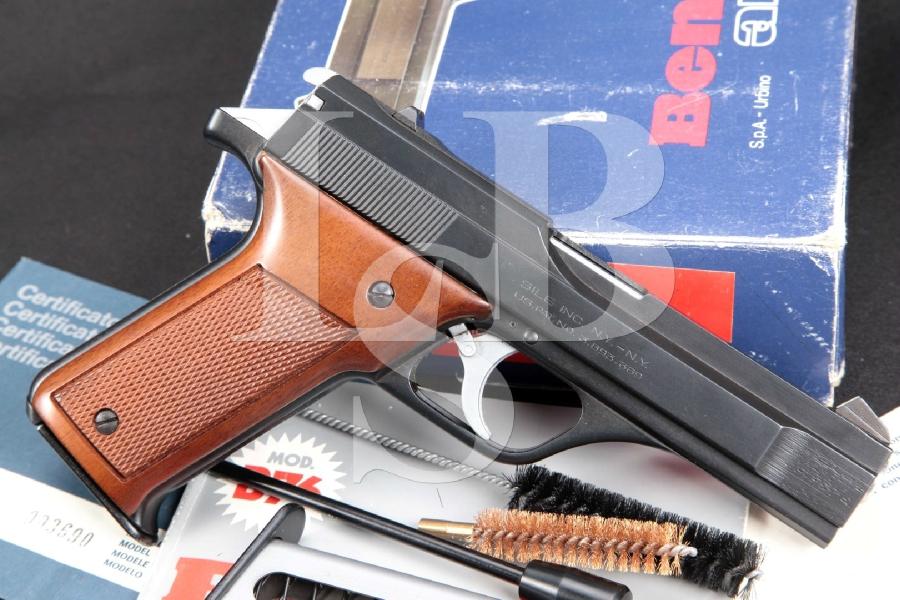 """Benelli Model B76, Import Marked, Matte Black 4 ¼"""" DA Semi-Automatic Pistol, Mags & Box, MFD 1980"""