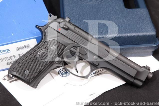 "Beretta 92 Brigadier FS P09219FBT, Black 4.9"" 9mm SA/DA Semi-Auto Pistol & Box, MFD 1998"