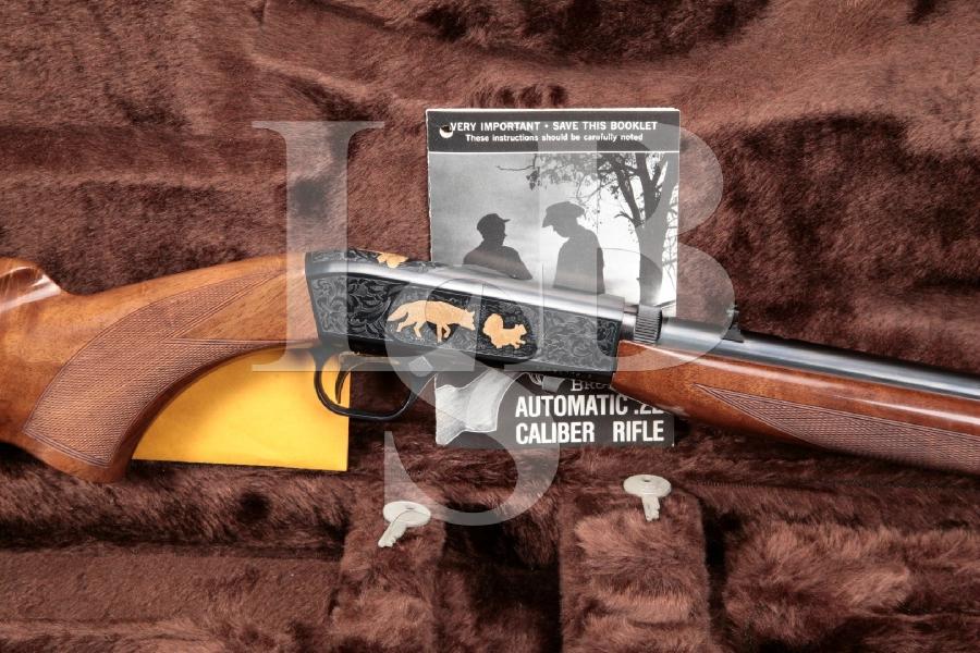 "Browning Arms Co. SA-22 SA22, Auto 22 Grade VI, Blue & Gold 19-1/4"" Semi Auto Takedown Rifle & Browning Luggage Case"