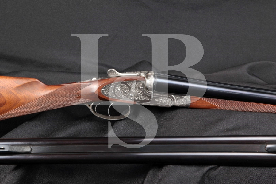 "Browning B-S/S BSS Sidelock Double Rifle / Side by Side Shotgun, Blue & Engraved 28"" 2 Barrel SxS Set, Rifle & Shotgun BBLS, MFD 1985"
