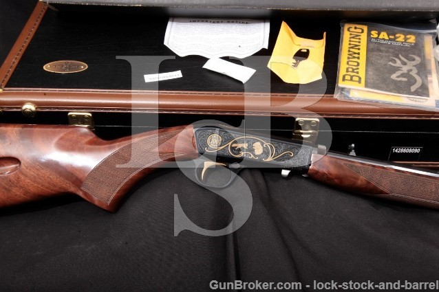 Browning Miroku 100th Anniversary SA22 High Grade SA-22 Semi-Auto Rifle, Case & More, 2014 .22 LR