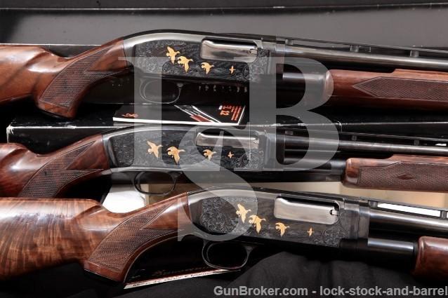 Browning Model 12 & 42 Grade V 20 28 & 410 Gauge 3x Vent Rib Pump Action Shotguns Set & 2 Boxes