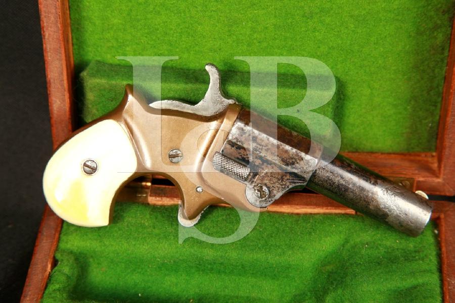 C.H. Ballard Single Shot Derringer .41 RF Rimfire Single Action SA Deringer & Case, MFD 1870 Antique