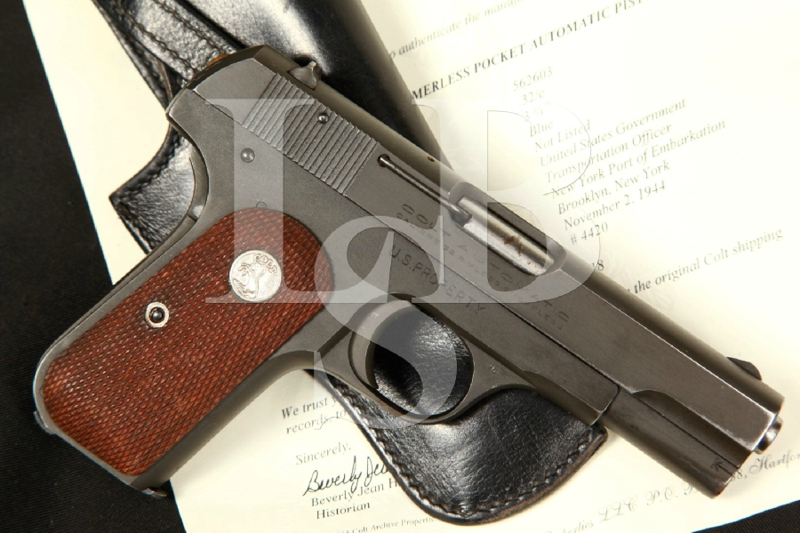 COLT OSS ISSUED U.S. Property Marked Model 1903 General Officer's Semi-Automatic Pistol & Holster, Shipped Nov. 1944