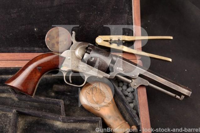 "Colt 1849 Pocket, Pre-Civil War, Silver Plated 5"" Percussion Revolver, Period Case & Tools - 1855"