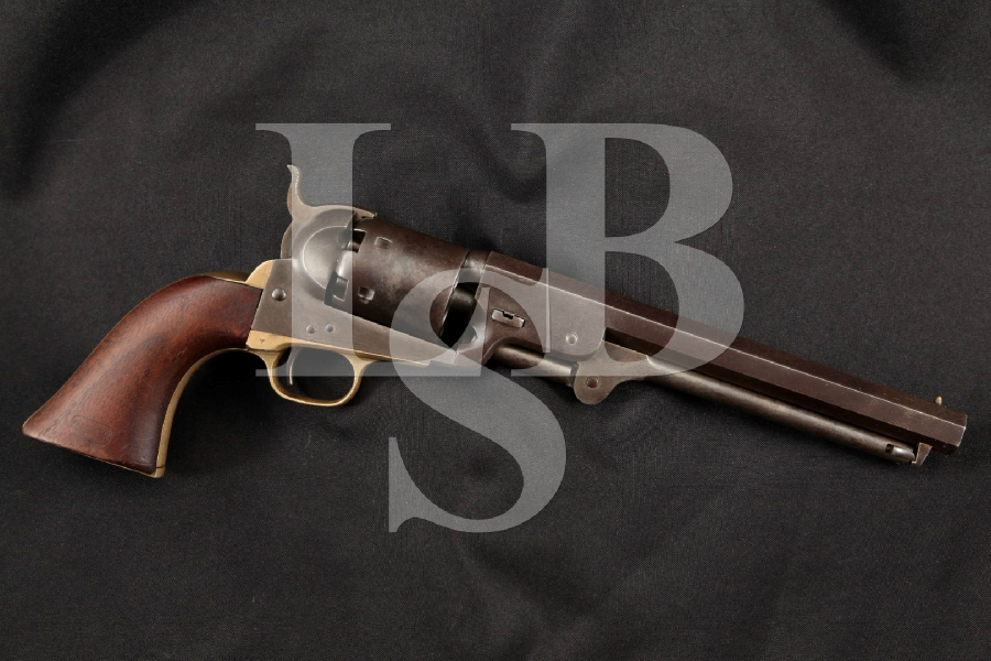 Colt 1851 Model, Army Purchased, U.S. Marked Blue & Case Colored 7 1/2 6-Shot, Single Action Revolver, MFD 1856 Antique