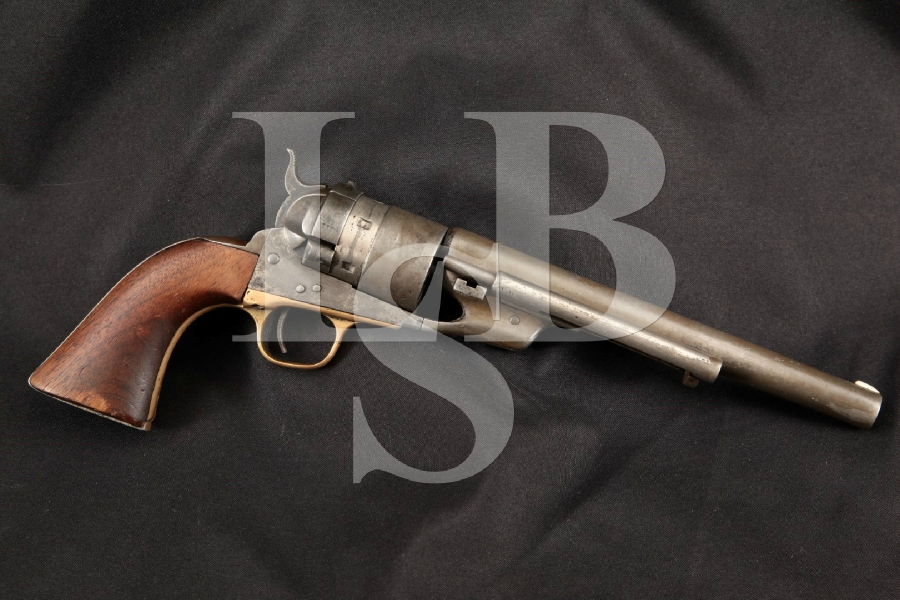 "Colt 1860 Army C.B. Richards Centerfire Converted, Refinished Nickel 7 5/8"" 6-Shot, Single Action Revolver, MFD 1870's Antique"