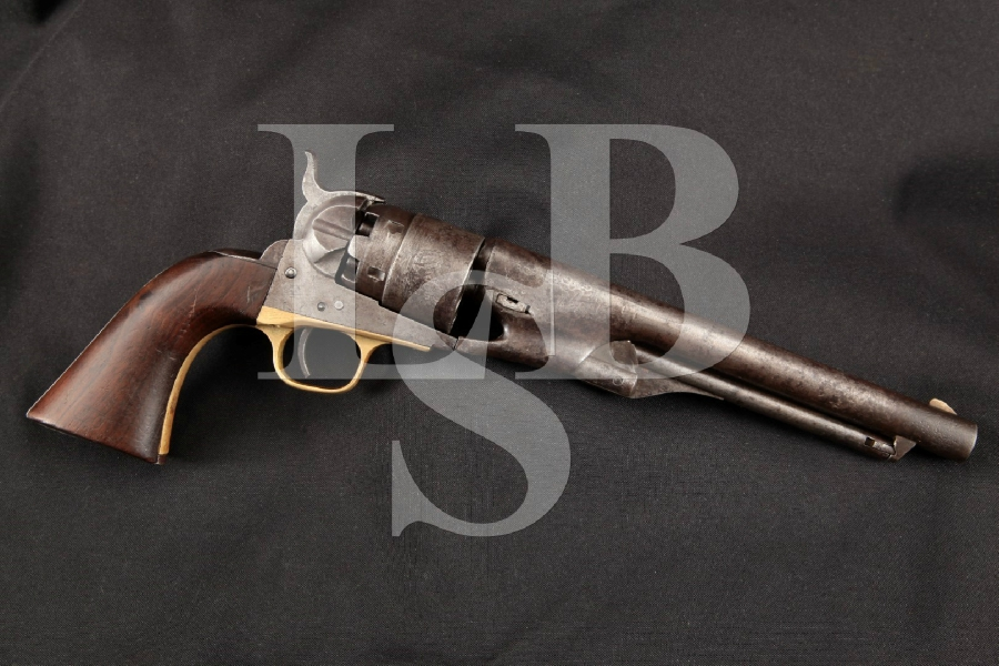 "Colt 1860 Army Model, Civil War-Era Inspector Marked Blue & Case Colored 8"" 6-Shot, Single Action Revolver, MFD 1863 Antique"