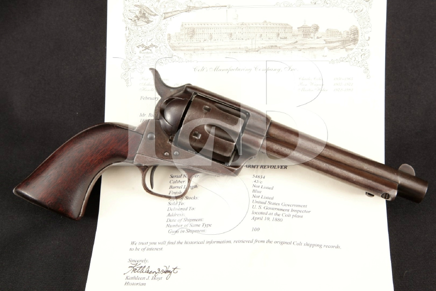 Colt 1873 SAA 1st Gen. Artillery Model, U.S. Marked & Lettered, Nickel 5 1/2 Single Action Army Revolver, MFD 1880 Antique