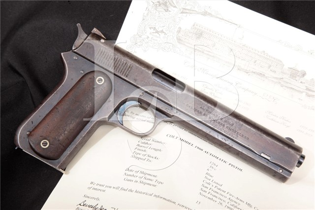 Colt 1900 Sight Safety 1st Year Long Slide .38 ACP Shipped To Colt's San Francisco Agency, 11 26 1900