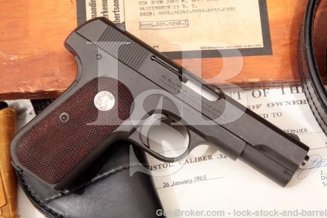 Colt 1903 General Officer Pistol MG Joseph Bernier US Property .32 ACP Pistol & Holster, 1943 C&R