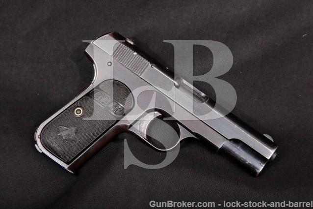 Colt 1908 Type III Pocket Hammerless .380 ACP Semi-Automatic Pistol, MFD Pre-WWI 1913 C&R
