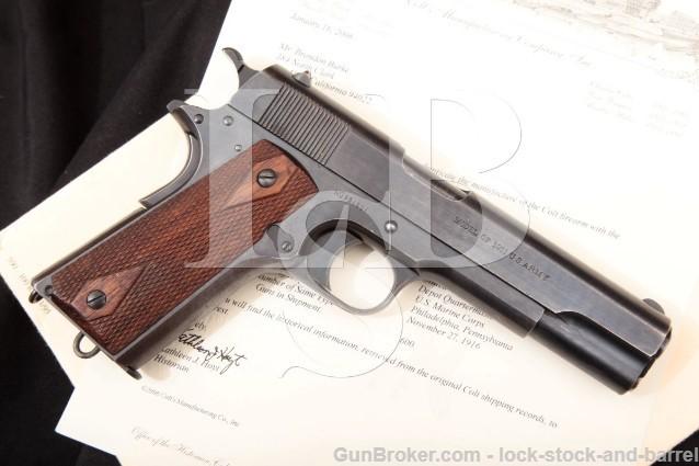 "Colt 1911 Government Model Marine Corp Issue .45 Blue 5"" SA Semi-Automatic Pistol & Letter 1915 C&R"