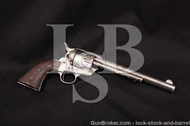"Colt 1st Gen Early Smokeless SAA B. Heune Engraved Silver 7 1/2"" Single Action Revolver, 1902 C&R .45"