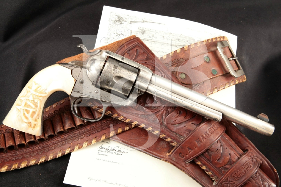 "Colt 1st Generation Bisley SAA, Carved Monogram Factory Pearl Grips! RARE Silver 7 ½"" -- Single Action Army Revolver & Holster MFD 1909 C&R"