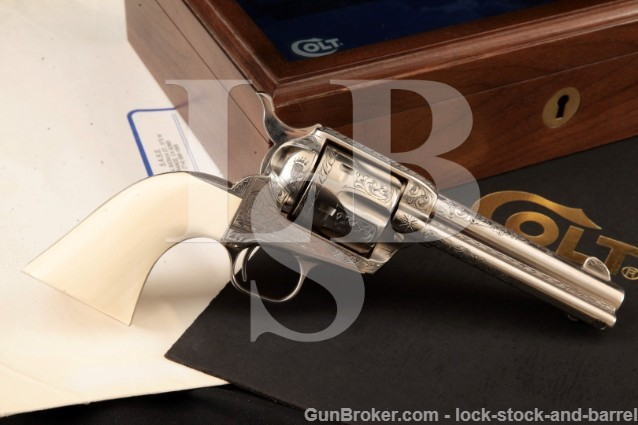 Colt 3rd Gen SAA 1999 SASS End of Trail .38-40 WCF Factory John Adams Engraved Brushed Nickel 4 ¾""