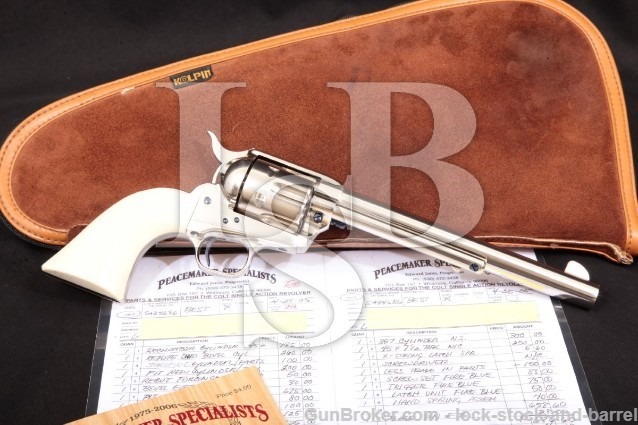"Colt 3rd Gen Single Action Army SAA Nickel 7 1/2"" Peacemaker Specialists Custom Revolver, 1980 .45"
