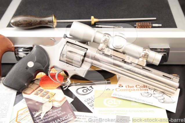 "Colt Anaconda .44 Magnum 8"" Stainless Revolver Cleaning Rod, Americase & Leupold M8-2x ERR Scope"