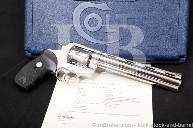 "Colt Anaconda MM3080PDT, Stainless 8"" Ported SA/DA Double Action Revolver, Box & Letter, 1999 .44 Mag"