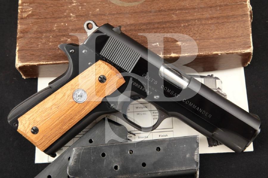 "Colt Combat Commander Model, Series '70, Matte & Polished Blue 4 ¼"" Semi-Automatic Pistol, 3 Magazines & Box, MFD 1974"