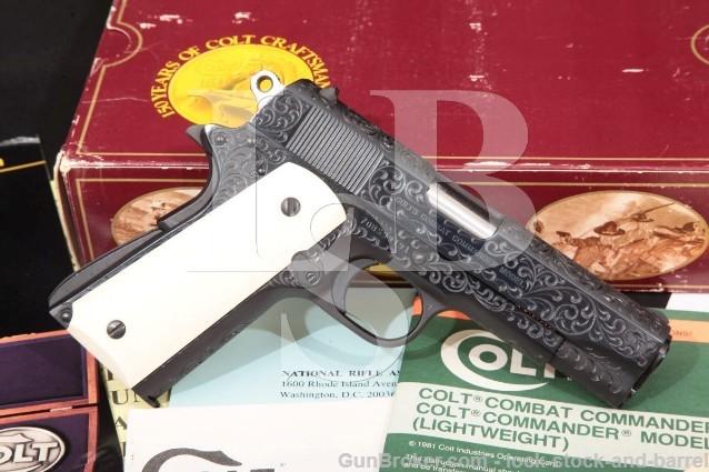 """Colt Custom Shop Class D Engraved Pre-Series '80 Combat Commander 4 1/4"""" Pistol & Box 1980 38 Super"""