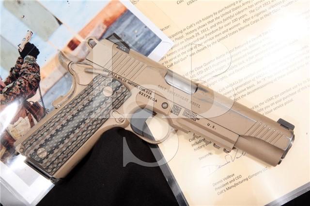 "Colt Decommissioned M45A1 CQBP USMC 1911 Rail Gun Tan 5"" .45 ACP Semi-Automatic Pistol & Letter 2012"