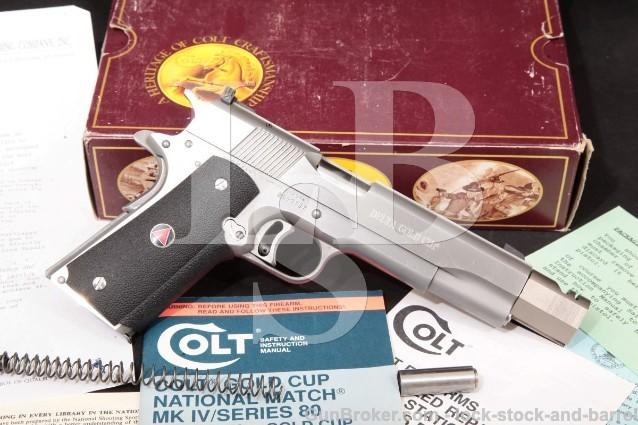 "Colt Delta Elite Gold Cup, 10mm Semi-Auto Pistol Stainless 5"" Pistol, Comp-Bushing & Box, MFD 1999"