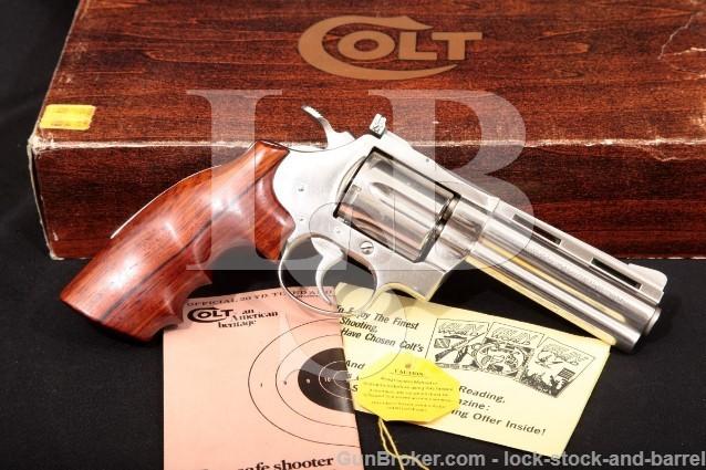 "Colt Diamondback D5541, Nickel 4"" Vent-Rib SA/DA Double Action Revolver & Box, 1977 .38 Special"
