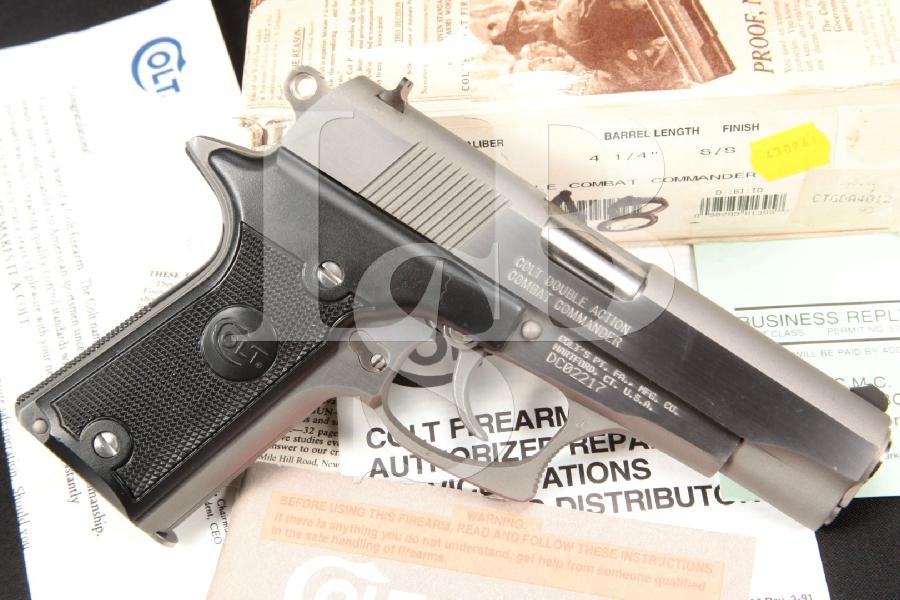 "Colt Double Eagle MKII Mark 2, Series 90, Combat Commander, Stainless 4-1/4"" DA Semi-Automatic Pistol, Box"