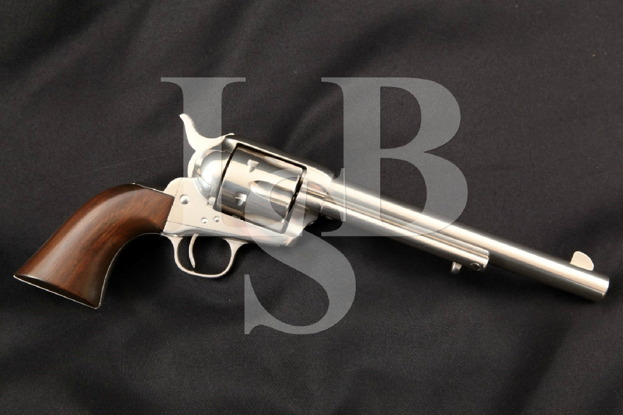 "Colt Etched Panel Frontier Six-Shooter S.A.A. SAA, 1st Gen. Black Powder, Restored Nickel 7 ½"" Single Action Army Revolver, MFD 1881 Antique"