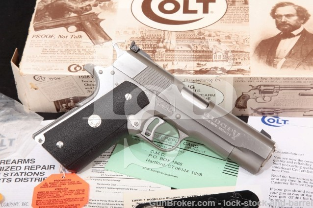 """Colt Gold Cup Commander National Match 4.25"""" Stainless SA Semi-Automatic Pistol & Box, MFD 1992"""