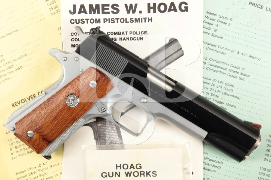 "Colt Government Model 1911A1 1911-A1 Jim Hoag Custom, Blue & Hard Chrome 5"" SA Semi-Automatic Pistol & Paperwork, MFD 1962 C&R"