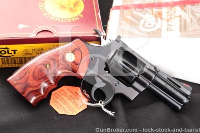 Colt Lew Horton Combat Python I3630CP 3 .357 Mag DA SA Double Action Revolver, Box & Paperwork 1988