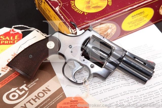 "Colt Lew Horton Combat Python I3630CP, Blue 3"" SA/DA Double Action Revolver, Box & Letter 1988"