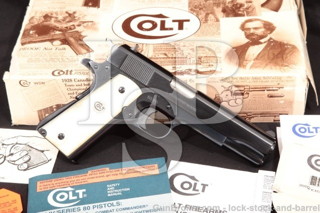 "Colt Lew Horton El Coronel Government Model 1911 02570EC Royal Blue 5"" .38 Super Pistol & Box, 1993"