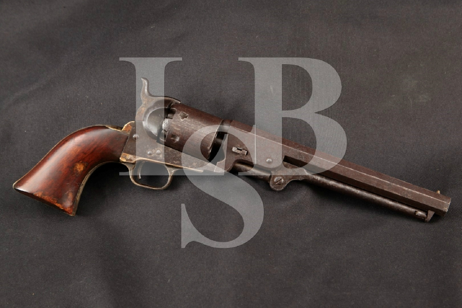 "Colt Model 1851 Navy, Pre-Civil War, 4th Year, Blue, Case Colored & Silver 7 1/2"" 6-Shot, Single Action Revolver, MFD 1853 Antique"