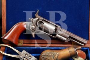 Colt Model 1855 Root Sidehammer Model 2 .28 Caliber Single Action Revolver & Fitted Case, MFD 1856 Antique