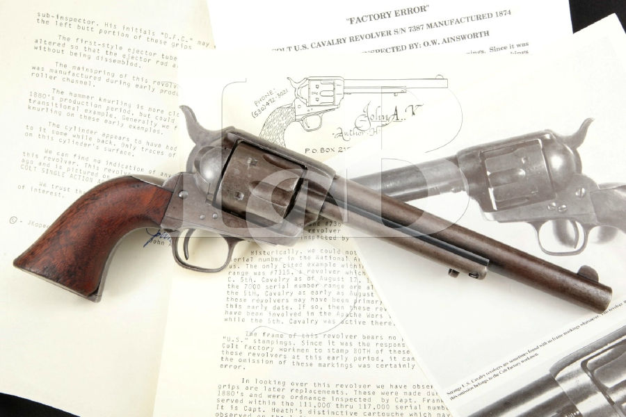 Colt Model 1873 Ainsworth U.S. Cavalry SAA, Photo'd in Kopec Book, Blue & Case Colored US Single Action Army Revolver, MFD 1874 Antique