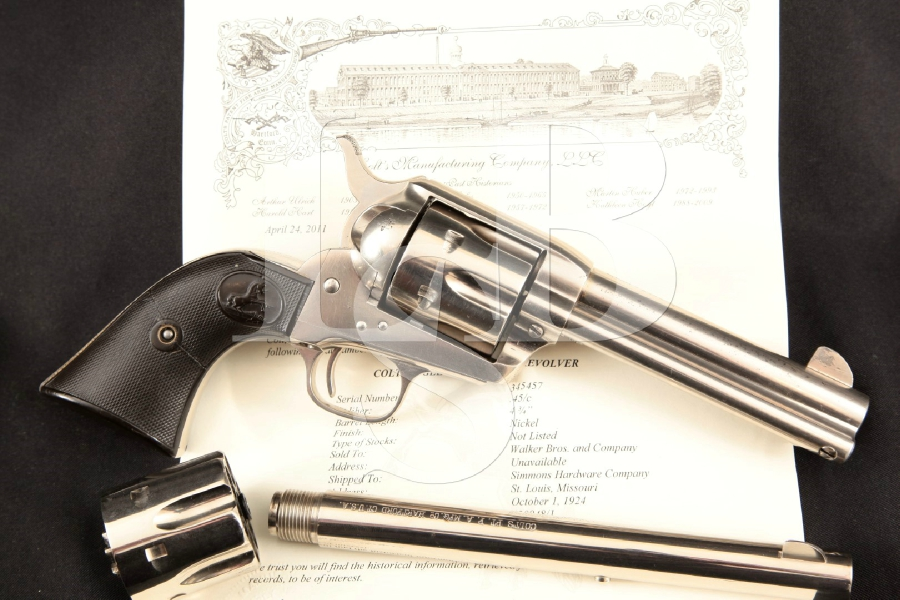 "Colt Model 1873 S.A.A. 1st Gen. Smokeless + .45 ACP Cyl & 2nd Barrel, Lettered Nickel 4 3/4"" 6-Shot, Single Action Revolver, MFD 1924 C&R"